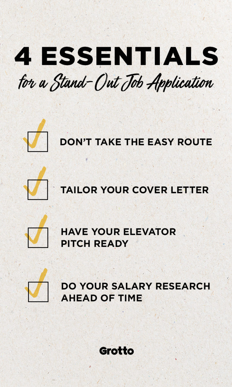 "Grotto infographic of job application tips: ""1. Don't take the easy route; 2. tailor your cover letter; 3. have your elevator pitch ready; 4. do your salary research ahead of time."""